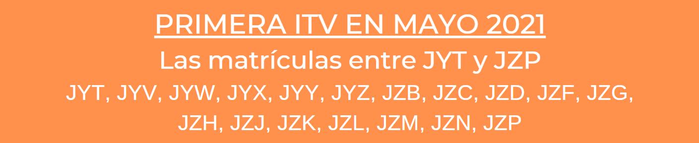 itv matriculas mayo