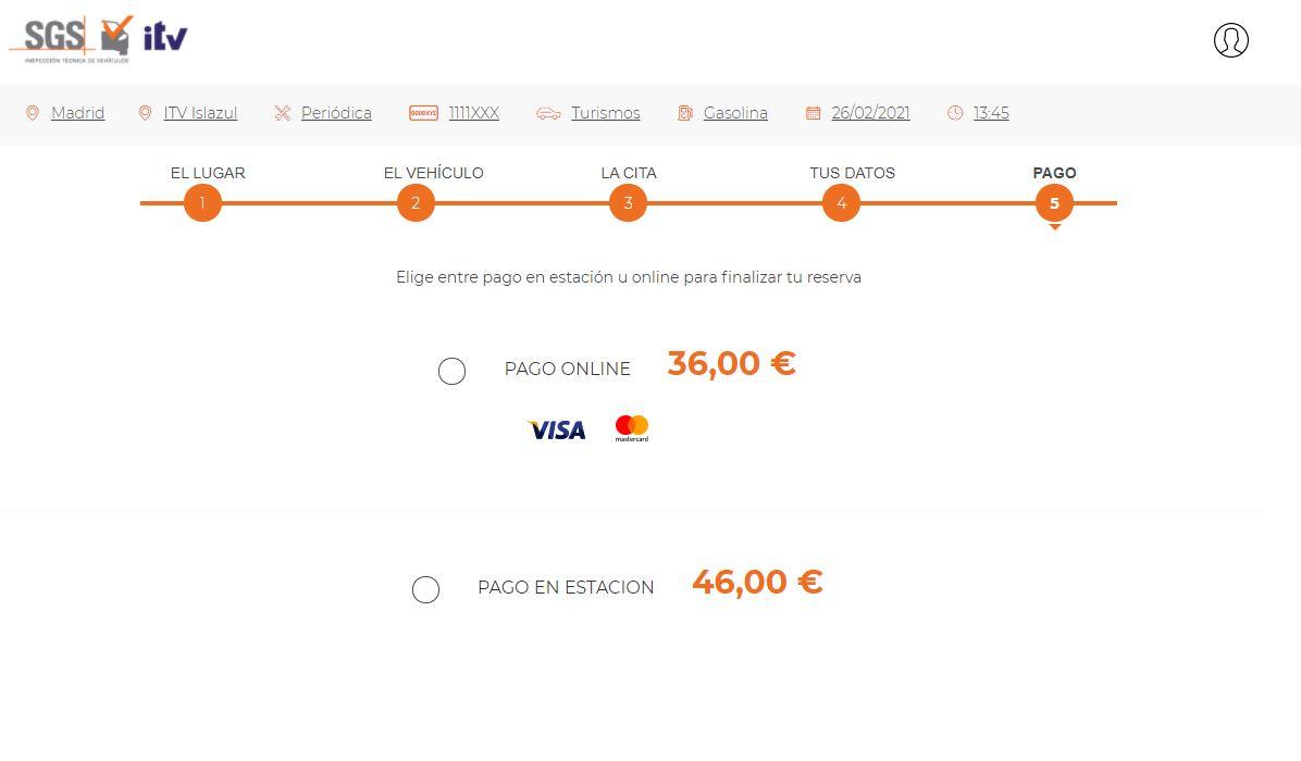 pago cita previa online sgs itv